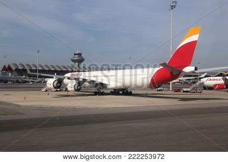 Madrid, Spain - October 20, 2014: Iberia Airline Airbus A340 At Madrid Barajas Airport. Iberia Is Pa