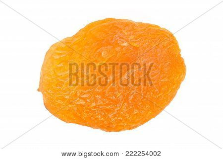 Dried Apricot Ingredient Close Up Isolated On A White Background. One Orange Apricot Fruit With Clip