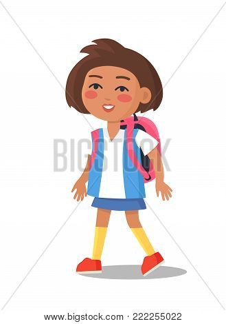 Schoolgirl in uniform in blue and white colors with backpack isolated. Cartoon female character, first year pupil vector illustration in flat style