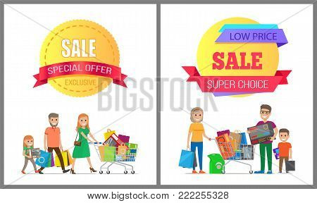 Exclusive sale special offer low price super choice posters set with family on shopping. Parents and children carrying trolley full of packages vector