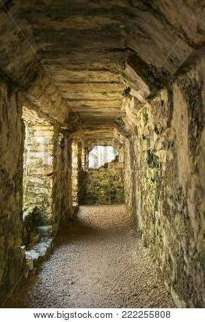 PALENQUE, MEXICO - NOVEMBER 29: A hallway of the The Palace, one of the Mayan buiding ruins on November 29, 2016 in Palenque. Palenque was declared a world heritage site by UNESCO in 1987.