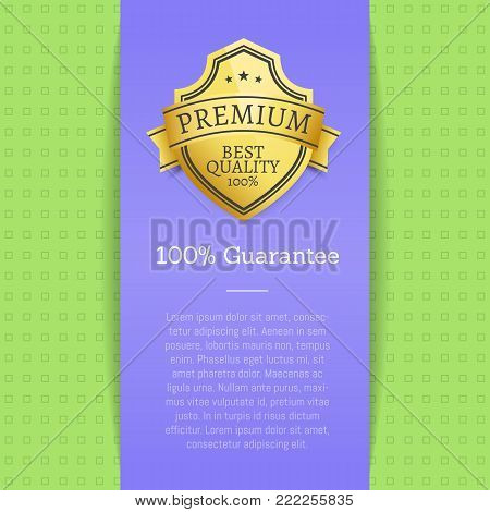 Premium quality best golden label 100 guarantee sticker award, vector illustration certificate label with stars isolated on blue and green background