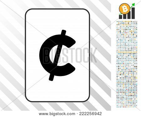 Cent playing card pictograph with 700 bonus bitcoin mining and blockchain pictograms. Flat vector style for gambling and blockchain apps.