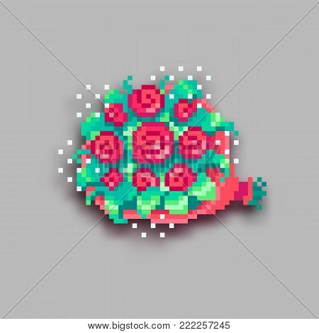 Pixel Art Bouquet Of Roses With Shadow.