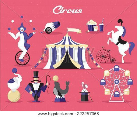 Circus elements set. Tent, tamer, horse, elephant, clown, jugglercarousel Vector illustration on a circus theme