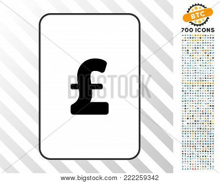 Pound Sterling playing card icon with 7 hundred bonus bitcoin mining and blockchain pictographs. Flat vector style for gambling and crypto-currency software.