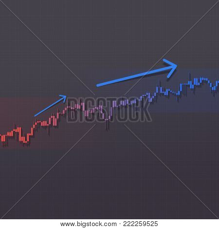 Higher trend stock market chart with up arrows on dark background. Color market graph. 3D illustration for option, forex, stock exchange analysis graphics.