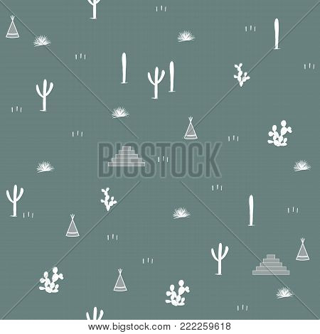 Seamless pattern with indian tents, pyramids and cacti. Saguaro, opuntia, and wigwames. Vector illustration. Simple design for textile, clothing, wallpapers, and cards