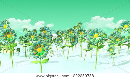 Psychedelic Flowers of green on a smooth, bluish colored Field