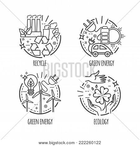 Ecology, green technology, organic, bio. Vector cartoon thin line illustration, logo, labels for your design