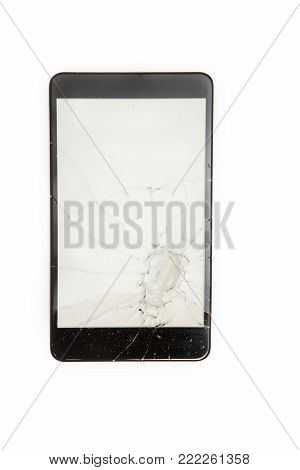 Close-up view of Shattered smartphone screen on white background with copy space