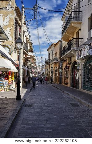 RETHYMNO, GREECE - MAY 27, 2017: Buildings in the old town of Rethymno. City is famous for its splendid beaches and venetian architecture, as well as for its interesting cultural life and cuisine.