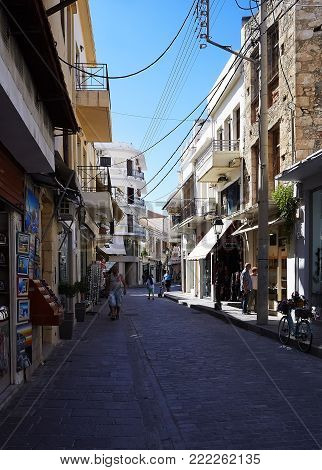 RETHYMNO, GREECE - MAY 27, 2017: Buildings in old town of Rethymno. City is famous for its splendid beaches and venetian architecture, as well as for its interesting cultural life and cuisine.