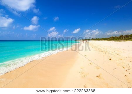 Beach at Caribbean sea in Playa del Carmen, Mexico
