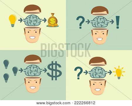 Effective Strategy. Men gets sense of education. Set. Stock flat vector illustration.