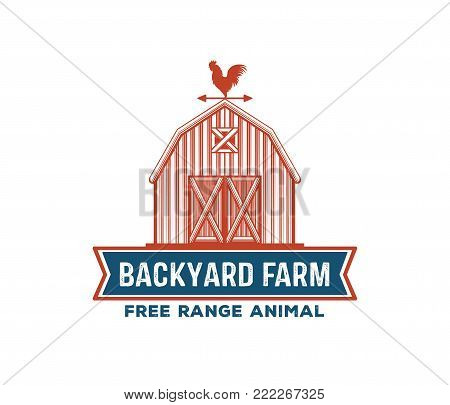 vintage retro vector label badge design set of farm, poultry, chicken, hen, rooster, livestock, cock weather. red and blue color