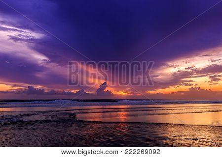 Dramatic Sunset In Kuta Beach, Bali, Indonesia