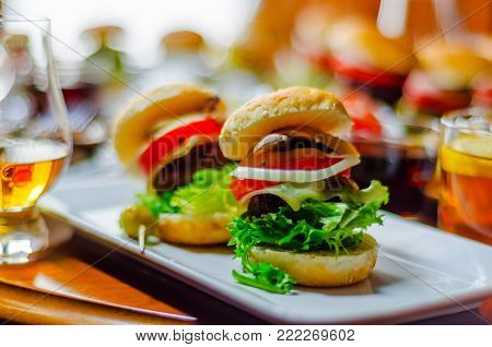 Black Coffee With Set Appetizers In Small Portions, Healthy And Delicious Snacks