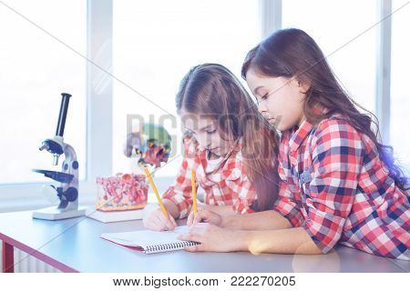 Intelligent ladies. Analytical talented hardworking girls attending school and helping each other while working on assignments during biology class