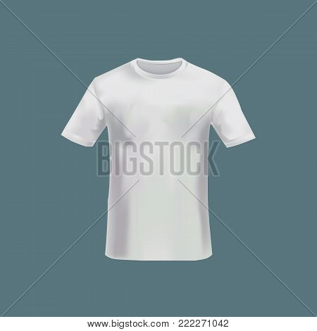 Mockup of men s t-shirt - tunic. Men's sports short sleeve t-shirt. White variant of template. Clothes in light colors. Template fashion clothes mockup tshirt. Front view. Vector illustration.