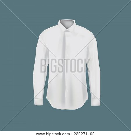 Mockup of men s white shirt. Men's business shirt with long sleeves. White variant of template. Clothes in light colors. Template fashion clothes mockup tshirt. Front view. Vector illustration.