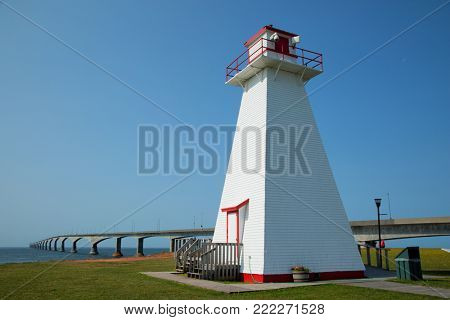 Port Borden Range Front Lighthouse with the confederation bridge in background in Prince Edward island in Canada