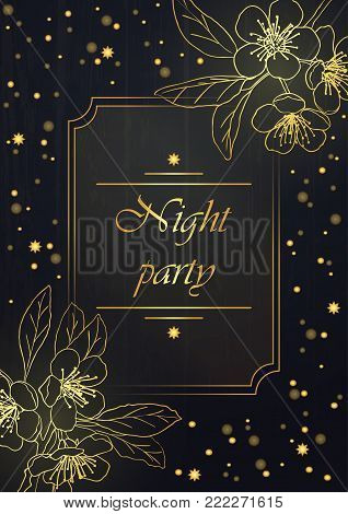 Vintage floral background.wedding card or invitation border of bouquet of cherry blossoms.Night party.Spring background.Golden blossom of a cherry tree in a dark night sky.