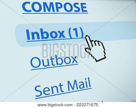 Screen shot of hand cursor hovering inbox