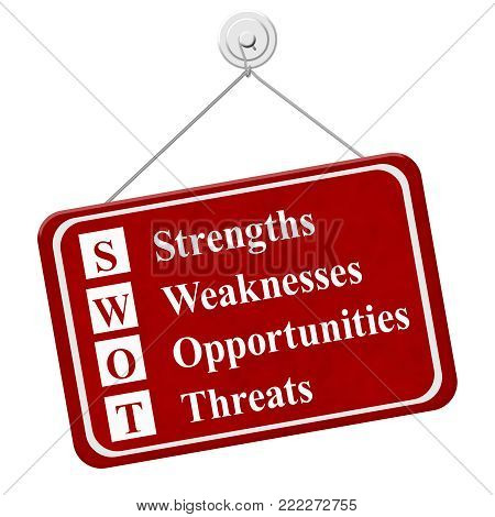 SWOT sign, A red hanging sign with text SWOT Strengths Weaknesses Opportunities Threats isolated over white 3D Illustration