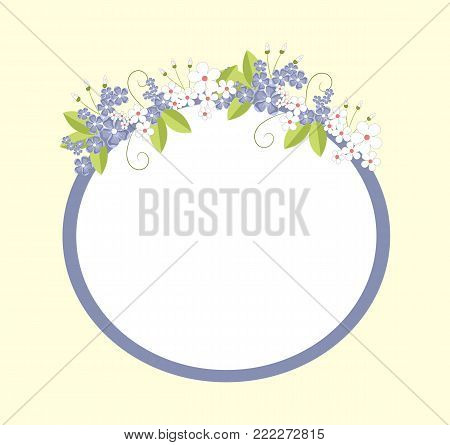 Frame of oval shape, with flowers in bloom of blue color, petals and leaves, placed on wide lines of circle, isolated on vector illustration