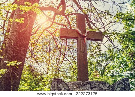 old carved stone cross and ribbon symbol of Poland. element tombstones carved from sandstone. old sculpture covered with moss. against the sky and tree branches. soft selective focus. vintage style.