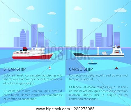 Big steamship and spacious cargo ship near coastline with high skyscrapers and blue sky with white clouds and gulls vector illustrations.