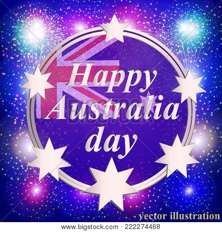 Happy Australia day background. Happy Australia day lettering. Vector illustration for holiday Australia. Bright illustration with flag and stars.