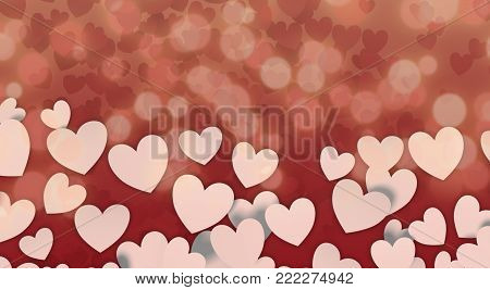 white paper hearts on abstract background, valentines card (3d render)