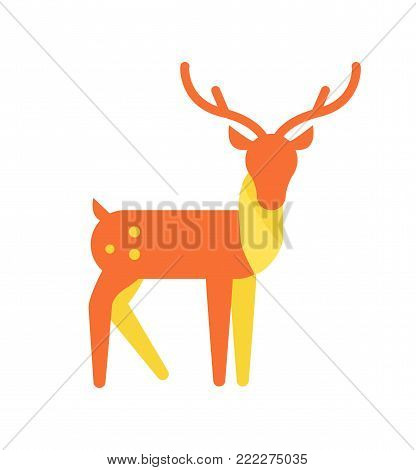 Deer animal icon, horned reindeer in orange and yellow color, vector illustration isolated on white background. Cute horns of mammal with spots