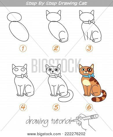 Drawing tutorial. Step by step drawing Cat. Easy to drawing Cat for Children. Funny cartoon character. Vector illustration