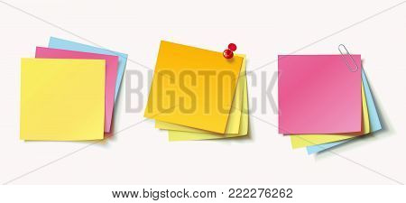 Stack of colored stickers attached red pushpin and metal paper clip. Set of color stickers isolated on white background. Vector illustration