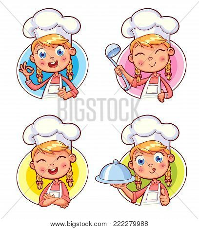 Happy smiling Chef Cook collection. Child in a cook's cap and with a towel, holds a ladle. Kid makes gesture okay, holding dish with food.  Logo design template for baby food. Funny cartoon character