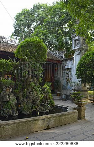 The grounds of the historic Quan Thanh Temple in the Ba Dinh district of Hanoi, Vietnam. The temple, also known as Tran Vo Temple, was built between 1010 and 1028