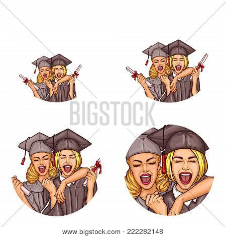 Set of vector pop art round avatar , profile icons for users of social networking, blogs. Two excited girls students celebrating graduation party holding diplomas in mantle, cap. Isolated illustration