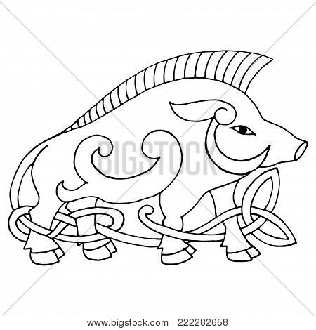 Ancient irish mythological totem. Wild boar with celtic knot. Vector knot illustration. Coloring. Isolated on white background.