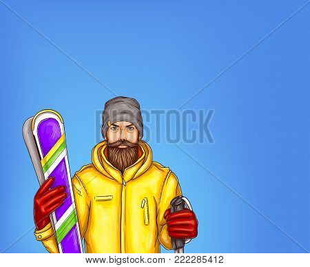 Pop art skier man vector sketch illustration. Hipster adult man bearded in winter sport modern yellow skiing jacket outfit, gloves and knitted hat holding skies isolated on blue background