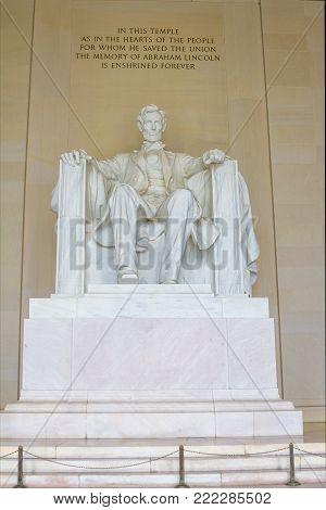 Lincoln Memorial, Washington DC view toward Washington Monument reflecting pool