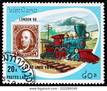 LAOS - CIRCA 1990: a stamp printed in Laos shows train, US, mode of mail transport, circa 1990