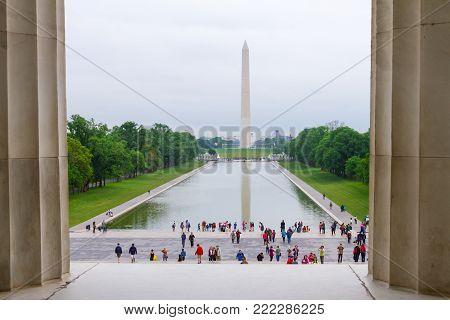 WASHINGTON DC - May 10, 2016: Lincoln Memorial, Washington DC view toward Washington Momnument reflecting pool