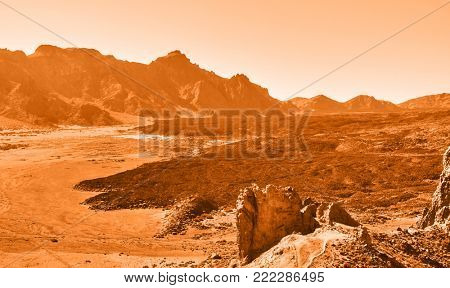 Lifeless martian landscape