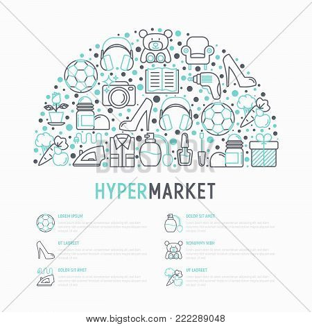 Hypermarket concept in half circle with thin line icons: apparel, sport equipment, electronics, perfumery, cosmetics, toys, food, appliances. Modern vector illustration, web page template.