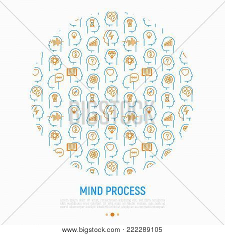 Mind process concept in circle with thin line icons set: intelligence, passion, conflict, innovation, time management, exploration, education, logical thinking. Modern vector illustration.
