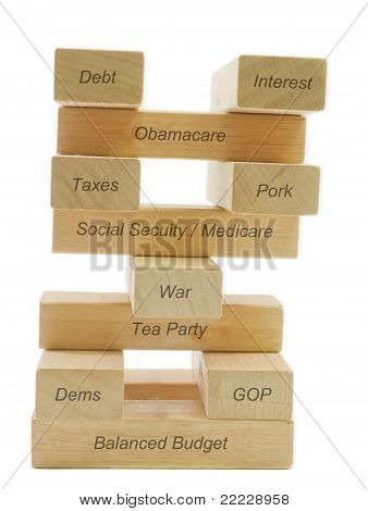 A concept of balancing the budget showing different factors balancing on wooden blocks including dems gop taxes pork tea party war medicare social security healthcare and interest. poster