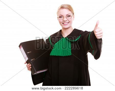 Law court or justice concept. Young woman lawyer attorney wearing classic polish (Poland) black green gown with file folder or dossier thumb up hand gesture isolated on white background